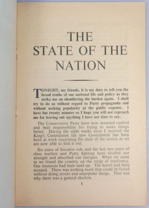The State of the Nation, A Broadcast by The Prime Minister The Rt. Hon. Winston S. Churchill, Saturday, 22nd December, 1951