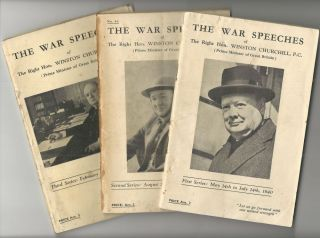 The War Speeches of the Right Hon. Winston Churchill: full set of all three First, Second, and...