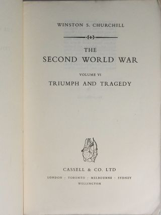 Publisher's proof copy of the sixth and final volume of The Second World War