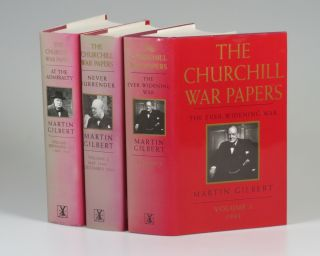 Winston S. Churchill, The Official Biography, The War Papers, Volume 1, At the Admiralty, September 1939 - May 1940, Volume 2, Never Surrender, May 1940 - December 1940, and Volume 3, The Ever-Widening War, 1941. Martin Gilbert.