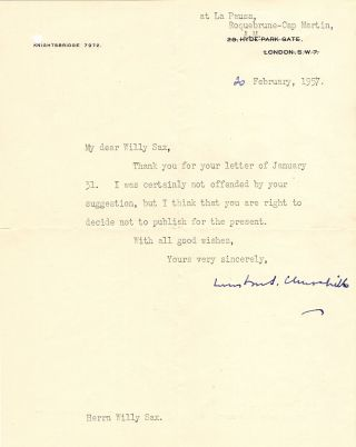 20 February 1957 typed signed letter from Churchill to his friend and paint supplier, Willy Sax, with its original, franked envelope