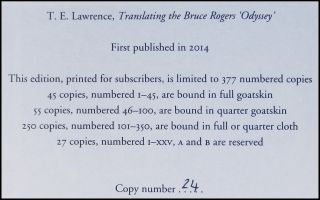 T. E. Lawrence: Translating the Bruce Rogers 'Odyssey'