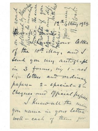 """The Road Followed by Alexander…"" - Three autograph, signed letters regarding the 1897-98 Malakand expedition on the northwest colonial Indian frontier that saw young Winston Churchill's first combat and first published book, two from the commanding General Sir Bindon Blood and one from Churchill's friend and longtime assistant Sir Edward ""Eddie"" Marsh"