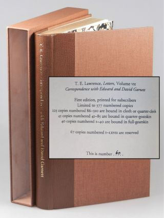 T. E. Lawrence's Correspondence with Edward and David Garnett, the quarter goatskin binding of...
