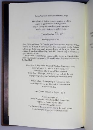 """Seven Pillars of Wisdom: a triumph, the complete 1922 'Oxford' text, limited one-volume edition, one of 180 issued thus in quarter Nigerian goatskin, an out-of-series """"Press Copy"""" acquired directly from the publisher"""