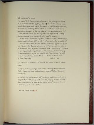 T. E. Lawrence: Letters to E.T. Leeds, the publisher's limited and numbered full Nigerian goatskin binding with accompanying proof illustrations portfolio