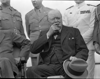 Original, unpublished photographic negatives of U.S. President Franklin D. Roosevelt, British Prime Minister Winston S. Churchill, Canadian Prime Minister MacKenzie King, and others on 18 August 1943 at the 'Quadrant' conference in Quebec