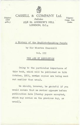 A History of the English-Speaking Peoples, Volume III, The Age of Revolution, a pre-publication publisher's review copy with the publisher's original review slips