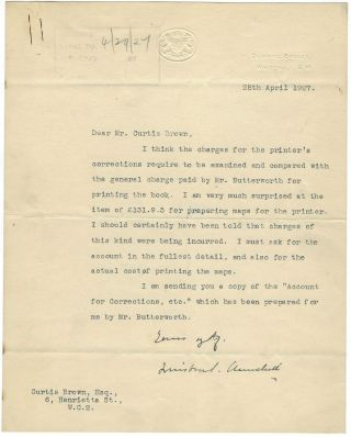 28 April 1927 Typed Signed Letter from Winston S. Churchill on Chancellor of the Exchequer stationery to literary agent Curtis Brown (whose firm continues to represent the Churchill family to this day) regarding costs associated with printing The World Crisis