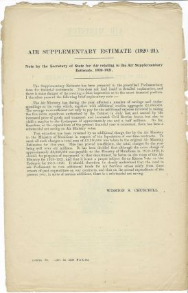 Air Supplementary Estimate: Note by the Secretary of State for Air Relating to the Air Supplementary Estimate for the Year 1920-1921