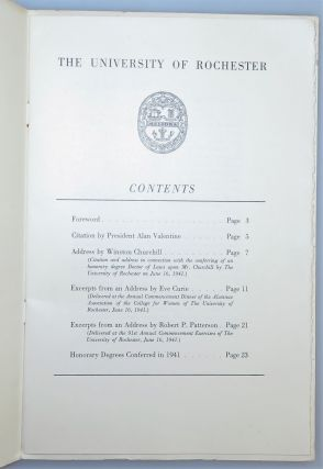 Addresses by Winston Churchill and Others at the Ninety-First Annual Commencement of the University of Rochester