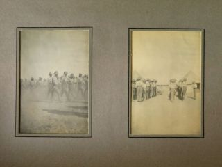 The photograph album of an Australian service member featuring 44 vernacular images documenting the Middle Eastern theatre at the beginning of the First World War, including a 1 February 1916 handwritten letter from a fellow service member written aboard a troop ship evacuating from Gallipoli