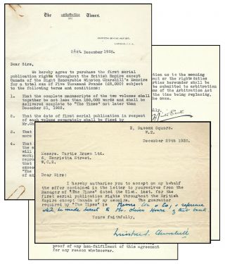 Signed and annotated 29 December 1920 typed letter from Winston S. Churchill to his literary...