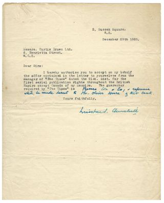 Signed and annotated 29 December 1920 typed letter from Winston S. Churchill to his literary agent, Curtis Brown, authorizing serialization of Churchill's history of the First World War by The Times, accompanied by a 21 December 1920 letter from The Times setting forth the terms and conditions of the agreement