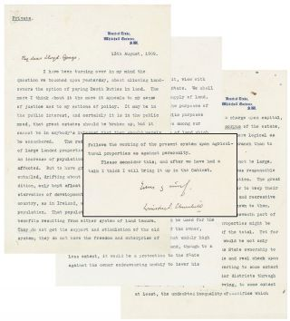 13 August 1909 typed, signed, and hand-corrected four-page letter from future Prime Minister...