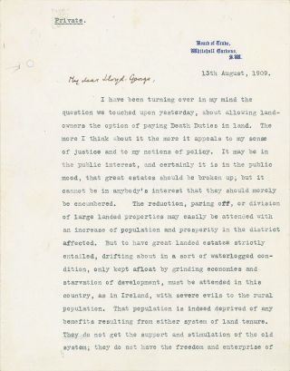Winston S. Churchill as traitor to his class – a 13 August 1909 typed, signed, and hand-corrected four-page letter from future Prime Minister Winston S. Churchill on the stationery of his first Cabinet post to future Prime Minister David Lloyd George advocating a radical liberal land reform tax policy