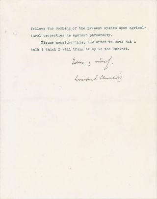13 August 1909 typed, signed, and hand-corrected four-page letter from future Prime Minister Winston S. Churchill on the stationery of his first Cabinet post to future Prime Minister David Lloyd George advocating a radical liberal land reform tax policy