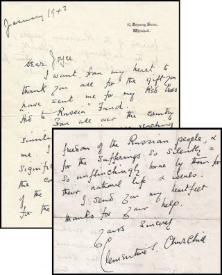A January 1943 wartime facsimile autograph letter from Clementine Churchill on 10 Downing Street...