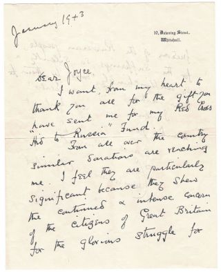 A January 1943 wartime facsimile autograph letter from Clementine Churchill on 10 Downing Street stationary, with holograph date and salutation, thanking a donor for their contribution to the Red Cross Aid to Russia Fund