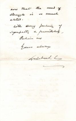 """Alas you have indeed suffered in this fearful convulsion of the world"" - A strikingly poignant 30 December 1918 autograph letter signed by then-Minister of Munitions Winston S. Churchill to Editor James Louis Garvin, who lost both his only son and his wife during the First World War"