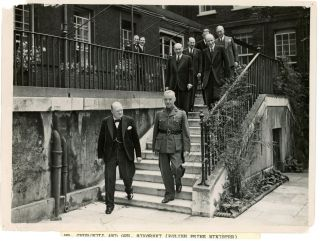 An original wartime press photograph of Prime Minister Winston S. Churchill and Polish General W...