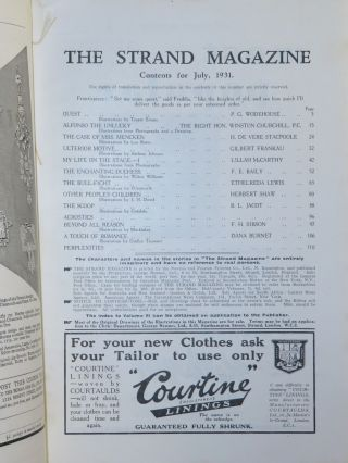 Alfonso the Unlucky in The Strand Magazine, July 1931