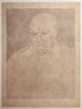 An original drawing of Sir Winston S. Churchill by the head chef of Blenheim Palace, signed by Churchill during his 50th engagement anniversary celebration at Blenheim Palace in June 1958