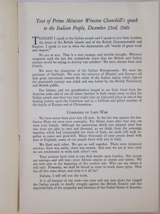 Text of Prime Minister Winston Churchill's speech to the Italian People, December 23rd, 1940