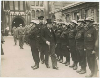An original wartime press photograph of Prime Minister Winston S. Churchill inspecting the Home...