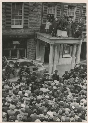 An original wartime press photograph of Prime Minister Winston S. Churchill delivering a campaign...