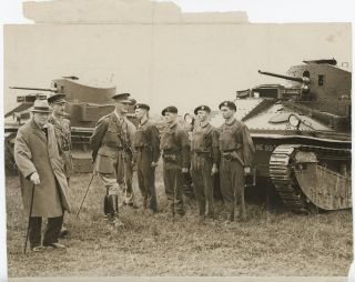 An original press photograph of then-Chancellor of the Exchequer Winston S. Churchill accompanied by General Sir Alexander Godley inspecting the newly formed Experimental Mechanised Force on 31 August 1927