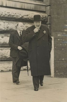 An original Second World War press photograph of Winston S. Churchill during the campaign for the...