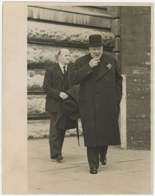 An original Second World War press photograph of Winston S. Churchill during the campaign for the 1945 General Election that ended his wartime premiership