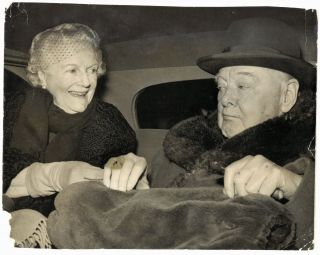An original press photo of Sir Winston S. Churchill and Lady Clementine Churchill on 10 February...