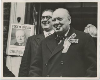 Churchill in two Moods - an original press photograph of Winston S. Churchill on an election tour...