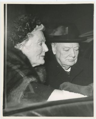 An original press photo of Sir Winston S. Churchill and Lady Clementine Churchill showing them in...