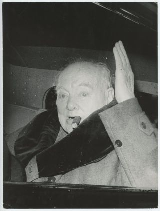 An original press photograph of Sir Winston S Churchill taken on 11 April 1963 capturing him...