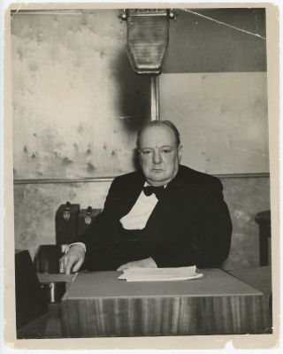 WINSTON CHURCHILL BROADCASTS TO NATION - An original press photo of First Lord of the Admiralty...