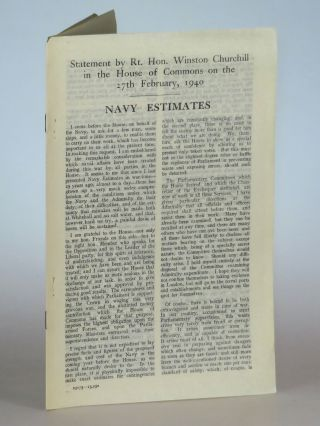 Navy Estimates: Statement by the Rt. Hon. Winston Churchill in the House of Commons on the 27th...