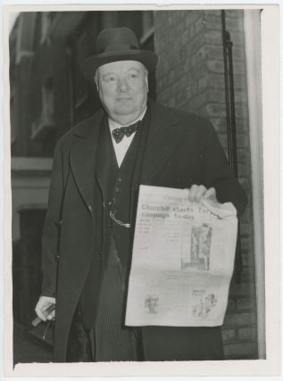 An original press photograph of Winston S. Churchill on 17 January 1950, the first day of his...