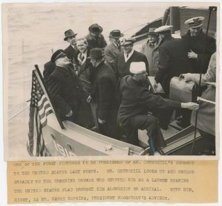 An original wartime press photograph of Winston S. Churchill arriving in New York in May 1943...