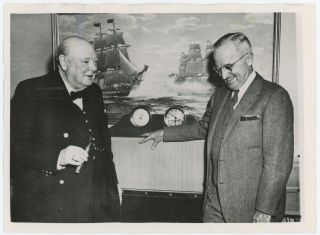 MR. CHURCHILL MEETS PRESIDENT TRUMAN ABOARD PRESIDENTIAL YACHT - an original press photo of Prime...