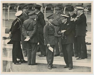 THE ARCHITECTS OF VICTORY - an original press photograph capturing Winston S. Churchill, Admiral...
