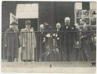 An original wartime press photograph of Prime Minister Winston S. Churchill on 20 May 1942 with...