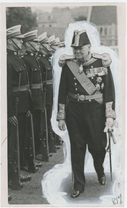 An original press photograph of Winston S. Churchill at the ceremony for his installation as Lord...