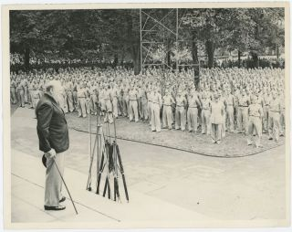 An original wartime press photograph of Prime Minister Winston S. Churchill addressing U.S. Naval...