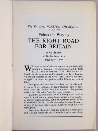The Right Road for Britain, Winston Churchill's speech at Wolverhampton of 23rd July 1949