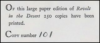 Revolt in the Desert, the publisher's limited issue of the first edition, number 101 of 250
