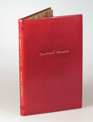 Painting as a Pastime, the first edition, finely bound in full red polished calf by Zaehnsdorf...