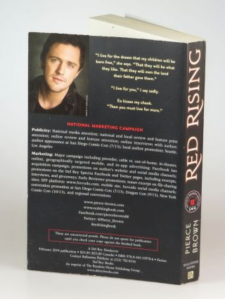 Red Rising, the publisher's pre-publication Advance Reader's Edition